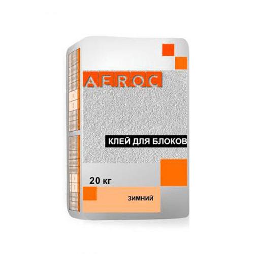 Клей серый для газобетона Аэрок Зима (20 кг)