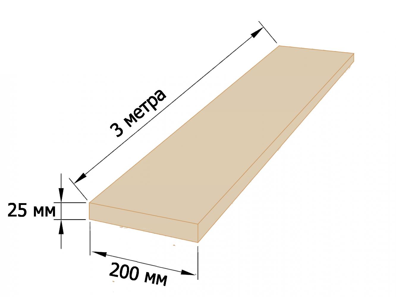 Доска обрезная 25×200 - 3 метра