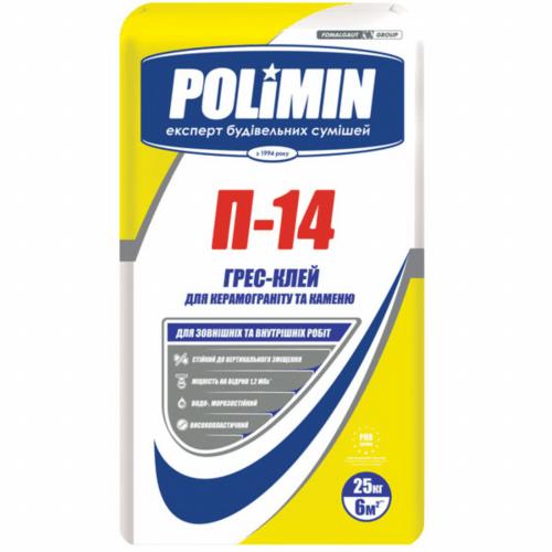 """Клей для плитки Полімін П-14 """"Грес"""" 25 кг"""