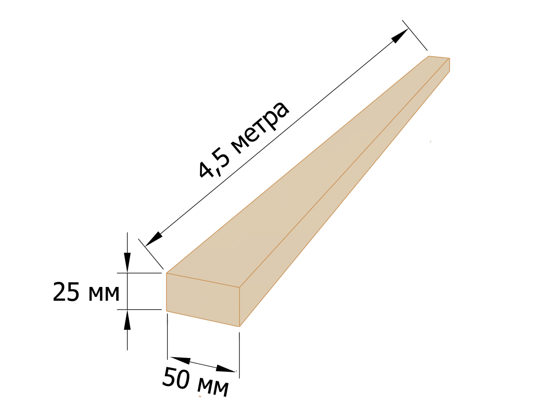 Рейка обрезная 25×50 - 4,5 метров