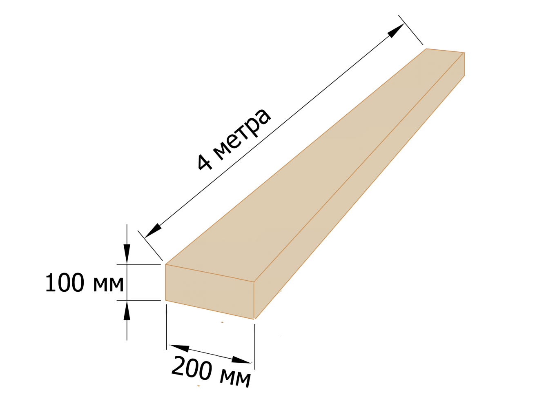 Брус деревянный 100×200 - 4 метра