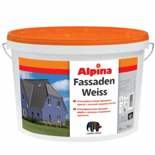 Краска фасадная Alpina Fassadenweiss B1 10 л
