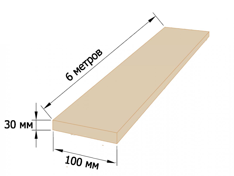 Доска обрезная 30×100 - 6 метров