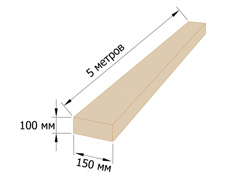 Брус деревянный 100×150 - 5 метров