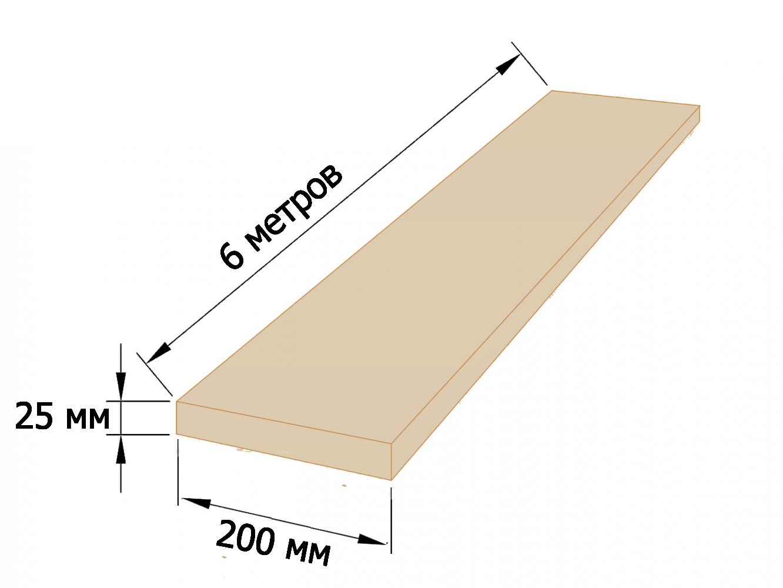 Доска обрезная 25×200 - 6 метров