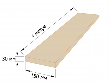 Дошка обрізна 30×150 - 4 метри