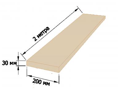Доска обрезная 30×200 - 2 метра