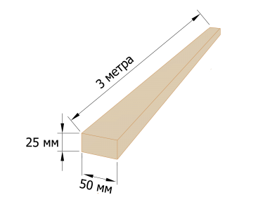 Рейка обрезная 25×50 - 3 метра