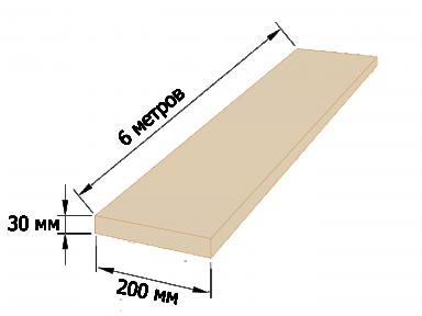 Доска обрезная 30×200 - 6 метров