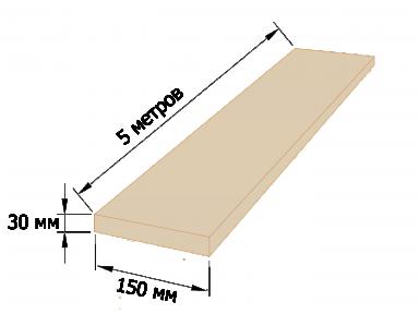 Доска обрезная 30×150 - 5 метров