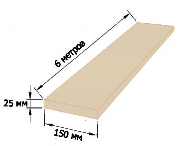 Доска обрезная 25×150 - 6 метров